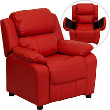 Contemporary Red Vinyl Kids Recliner with Storage Arms BT-7985-KID-RED-GG