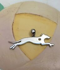 Greyhound w/Heart Cutout Sterling Silver Charm - New - FREE SHIPPING