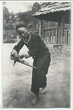 BM315 Carte Photo vintage card RPPC Indochine Type traditionnel Musicien Musique