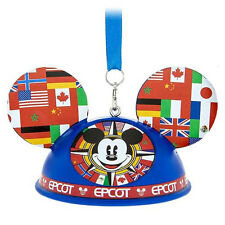 Disney Parks Mickey Epcot Flags Light Up Ear Hat Ornament