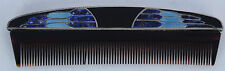 Vintage fine ART DECO sterling silver BLUE ENAMELED hair comb unique & unusual