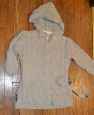 Triple Five Soul 3/4 Sleeve Cable Knit Button Sweater Hood Women's Size Small