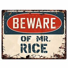 PP2388 Beware of MR. RICE Plate Chic Sign Home Store Wall Decor Funny Gift
