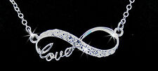 Never Ending Love Infinity Austrian Crystal Silver Pendant Necklace Valentine