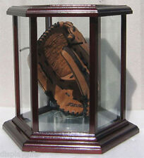 Baseball Glove Display Case, Hexagon Shape ( Solid Wood Frame ): GBB03-CHE