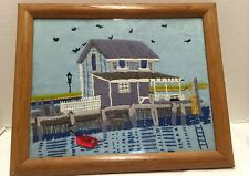 Vintage Needle Work  Boat House/ Lake Crewel Yarn Art Framed Picture