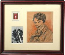 AMELIA EARHART AUTOGRAPHED/SIGNED ORIGINAL DRAWING BY GRIFFITH, JSA/LOA