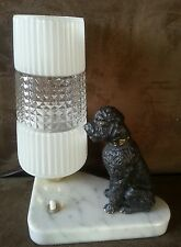VINTAGE 50'S FRENCH ART DECO POODLE LAMP, GLASS SHADE MARBLE BASE FROM FRANCE