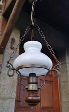 FRENCH Vintage CEILING Pendant LIGHT Rustic Brass,Wood LAMP Opaline Glass SHADE