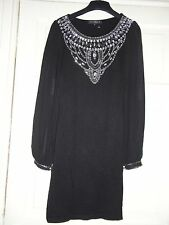 Miso Cocktail Ladies Party Black Evening Embellishes Evening Dress size S 8 NEW