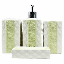 SetOf4 Ceramic GREEN Floral Bathroom Bottle Toothbrush Holder Cup Soap Dish Sale