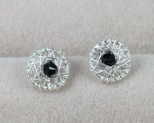 Solid Real 925 Sterling Silver Earrings Ear Stud Thai Silver Jet Crystals