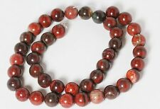 "10 MM Poppy Jasper Round Semi precious Gemstone Beads 16"" Strand /   1.2 MM Hole"