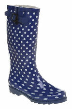 Womens Office Everyday Welly Boot Blue/Wht Spot Boots  Uk Size 4* Ex Display