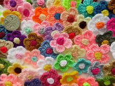 50! 2-colour Lana Crochet Flores-Gran Color Mix Daisy Apliques Decoraciones