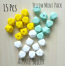15x MINT GREEN YELLOW WHITE mixed pack 17mm hexagon silicone beads teething bulk