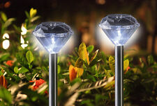 Solar Pathway Light Diamond Landscape Garden Yard Light Stainless Steel Set of 5