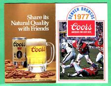 NICE! 1977 DENVER BRONCOS POCKET SCHEDULE-FAMOUS ORANGE CRUSH TEAM!