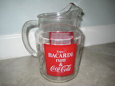 Bacardi Rum and Coke Coca-Cola Soda Glass Serving Pitcher Vintage Advertising