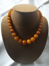 Vintage BAKELITE Butterscotch Amber Graduated Round Bead Necklace Button Clasp