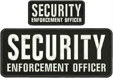 SECURITY ENFORCEMENT OFFICER embroidery patches 4x10 And 2x5  hook velcro white