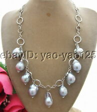 R042904 20mm Grey Bead-Nucleated Pearl Necklace