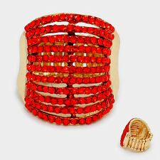 """1"""" red gold crystal pave multi 11 row stretch ring 11"""