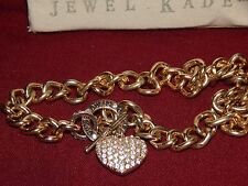 """GUESS"" Rhinestone Heart / Gold Tone Chunky Chain Necklace 16 inch. Box included"