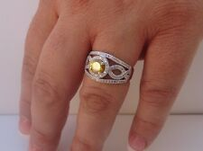 925 STERLING SILVER LADIES COCKTAIL RING/ SZ 7 / W/ 3.50 CTS YELLOW/WHT DIAMOND