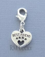 HEART Best Friend Dog Paw print Clip On Charm Lobster Claw for Link Chain C122
