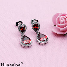 75% OFF Beautiful RED GARNET Sterling Silver Stud Earrings For Valentine's Day