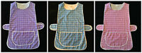 LADIES WOMENS SIZES 8-30 DOUBLE CHECKED PRINT SIDE BUTTON OVERALL TABARD APRON