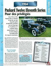 Packard Twelve Eleventh Serie Limousine V12 1934 USA Car Auto Retro FICHE FRANCE