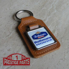 Rothmans Racing Honda logo Genuine brown leather keyring keyfob