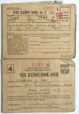 VINTAGE ORIGINAL SET OF 2 WORLD WAR 2 HOMELAND RATION BOOKS VOLS 3&4 WITH STAMPS