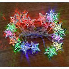 4.3M LED CHRISTMAS FAIRY LIGHT BATTERY OPERATED MOROCCAN SILVER STAR MULTICOLOUR