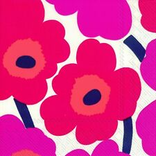 UNIKKO red Marimekko red 60's  flowers paper lunch napkins new 20 in pack