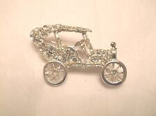 VINTAGE RHINESTONE PIN BROOCH OLD CAR AUTOMOBILE MODEL A T SHAPE NEW OLD STOCK