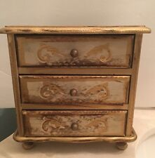 Vintage Italian Florentine Tole Gold Gilt Musical Jewelry Box 3 Drawer