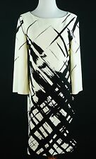Peck and Peck Collection Size 10 Ponte Knit Dress Black Ivory Print