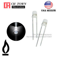 50pcs 3mm Water Clear White Light Candle Flicker Flickering Blink LED Diodes USA