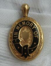 Large ANTIQUE Victorian Pinchbeck BLACK ENAMEL 'IN MEMORY OF' Mourning Locket