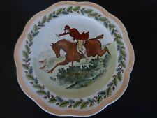 Antique Wedgwood Etruria Hunting Horseman Hounds Scalloped Edge Plate 1916