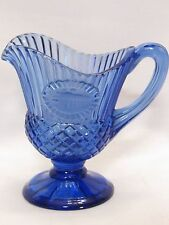 "AVON Cobalt Blue Glass Cream Pitcher 5.5"" Bicentennial Mount Mt. Vernon Fostoria"