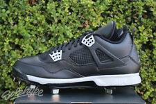 NIKE AIR JORDAN IV RETRO 4 SZ 10 BLACK TECH GREY CLEATS 807710 010