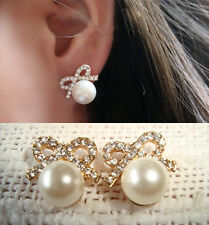 1 Paar Damen Ohrstecker Bowknot Stud Earrings Perle Ohrring Ohrschmuck