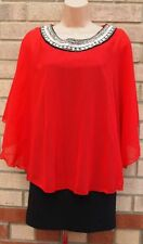 DRAMA QUEEN RED CHIFFON BLACK BANDAGE BEADED NECKLINE CAPE TUNIC DRESS 10 S
