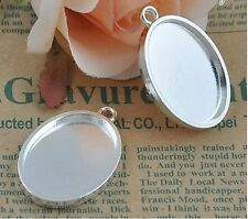 Silver Plated Oval Blank Tray Pendants, Blank Bazel Settings 30x22 mm - 2pcs