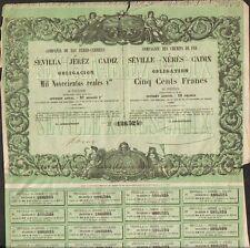 DECO =  CHEMINS DE FER de SEVILLE - XERES - CADIX 1862 (ESPAGNE) (R)
