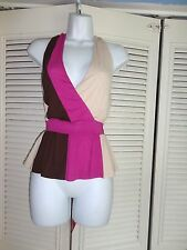BEBE V NECKED HALTER PINK TRI A LIST COLORBLOCK STRETCH TOP SZ XS